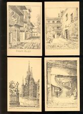 New Orleans, Louisiana Postcard Lot of eight G. F. Castleden Pen & Ink Sketches