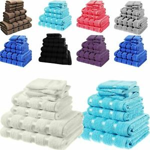 8pc Set Of Egyptian Cotton 500 Gsm Hand, Face Bath Towel Bale Towels Travel Pack