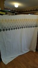 "Threshold Shower Curtain Embroidered Yellow Gray Tan 72"" X 72"""