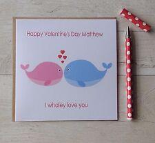 Personalised Whale Valentines Day Card Husband Wife Boyfriend Girlfriend