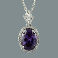 18K White Gold Plated Purple Amethyst Gem Slide Pendant Necklace Curb Chain