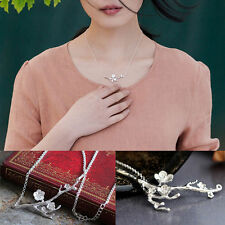 Silver Sakura Cherry Blossom Pendant Necklace Branch Chain Flower Gift Box S5