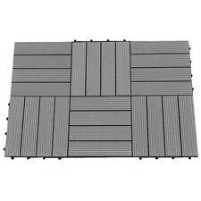 6 pack, 12x12 Inch Outdoor 4-Slat Composite Interlocking Decking Tile, Dark Gray