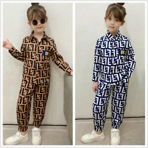 Boys Girls Autumn Print Lapel Shirt Top + Trousers Kids Shirt Casual Suit 2pcs