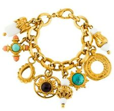 JOSÉ & MARIA BARRERA Charms Bracelet Gem Stones Gold Plate Turquoise Coral