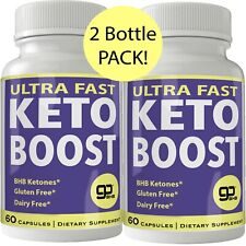 Ultra Fast Keto Boost 2 Bottle Pack Weight Loss Pills with BHB Keto Salts