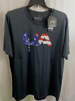Men's Under Armour Freedom Black USA Stars & Stripes Tee Size 3XL