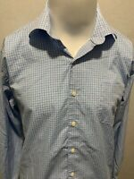 PETER MILLAR Blue White Long Sleeve Checkered Mens Button Down Shirt Large L