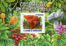 Sao Tome & Principe 2015 MNH Mushrooms Tropical Forest 1v S/S Flowers Cogumelos