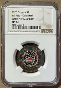 2020 Canada Bill Reid - Colorized 100th Anniv. of Birth $2 NGC MS 66 - Top Pop!!