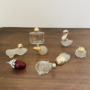 Avon Lot Vintage Miniature Collectible Empty Bottles Mouse Swan Pig Strawberry