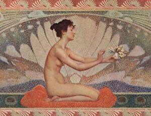 A Hofbauber Art Nouveau Jeune fille nénuphar Nu Journal décoration Litho 1900