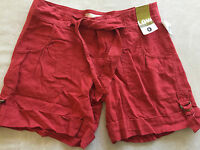 NEW ladies LINEN SHORTS old navy LOW WAIST RISE coral TIES size 0 XS modern CUTE