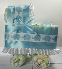 Diaper Cake Bassinet Carriage Baby Shower Gift - Blue with Elephant Theme