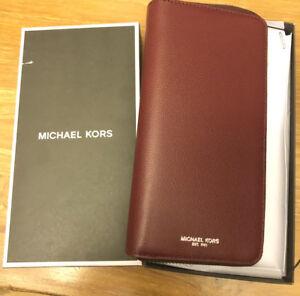 Michael kors Warren leather tech zip around wallet Malbec