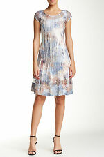 NWT $278 KOMAROV Charmeuse Lace insert Flare Dress Floral Animal Print Blue,sz.S