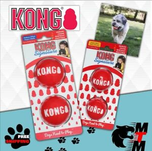 KONG SIGNATURE Balls Dog Toy Squeaky Small, Medium, Large  Fetch Chase 2 Pack