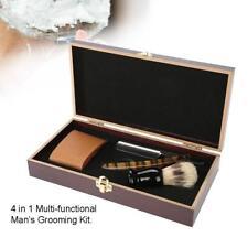 Men Shaving Set For Straight Razor Shaver Brush Sharpening Strap Wooden Box Kit