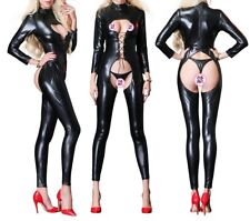 lingerie sexy body wetlook noir - tenue  libertine ZIP