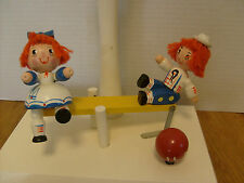 Vintage Nursery Raggedy Ann & Andy SEESAW WOOD LAMP BASE - FOR PARTS