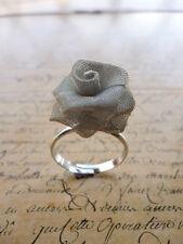 Silver Valentines Rose Petal Flower Jewellery Adjustable Ring + Gift Bag