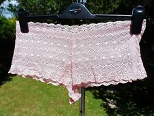 """Pink lace French knickers panties size 14 - 16- 18 - 20 waist 30 - 40""""  TV / CD"""
