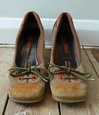 MIU MIU RARE WOMENS SHOES SIZE EUR 38.5 UK 5.5 US 8 LACE UP RUBBER SOLE DESIGNER