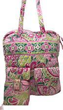 VERA BRADLEY Tall Zip Tote Shoulder Bag & Mini Zip Wallet PINWHEEL PINK Retired!