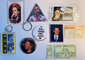 Clay Aiken Memorabilia Lot Pin Concert Ticket Stubs Keychains American Idol
