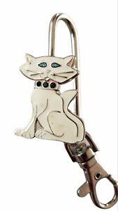 White Kitty Cat Key Purse Hanger Handbag Key Hook Purse Holder
