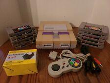 SNES Console Lot w/10 Games, Controller, & Cords FZero, Super Mario World & More