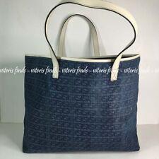 Authentic Gucci GG Blue Denim White Leather Tote Shoulder Bag 257245