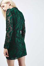 TOPSHOP GREEN VELVET DRESS UK 12 US 8 EUR 40