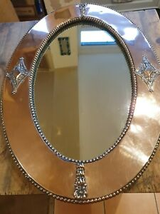 Stunning Arts And Crafts Copper Oval Mirror