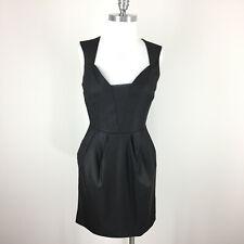 BEBE S 6 Black Sheath dress Cocktail Formal Pockets Sleeveless EUC
