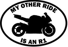 """RIDE YAMAHA R1 MOTORCYCLE Vinyl Decal Sticker-6"""" Wide White Color"""