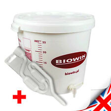 30 LITRE FERMENTATION BUCKET VESSEL WITH TAP & AIRLOCK HOME BREW Wine Cider Beer