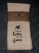 "FARM TO FAMILY SAVANNAH ""life Is Better On The Farm"" 4 Cotton Napkins NEW"