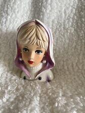 """Rubens Lady Head Vase 4135 Mod Teen Girl Earrings Vtg Japan Ceramic 5 1/2"""""""