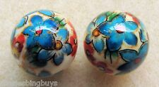 2 Japanese Tensha Beads CLEMETIS on IVORY COLORED ROUND Beads 14mm