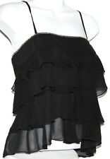 S Gothic Goth Tiered Ruffle Gypsy Hippie Boho Sequin Cocktail Cami Baby Doll Top