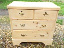 Old Vintage Stripped Pine Chest of Drawers With Brass Drop Handles 2 Over 2