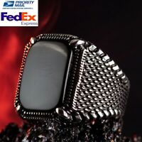 925 Sterling Silver Turkish Jewelry Nice Black Onyx Stone Mens Ring All Sizes