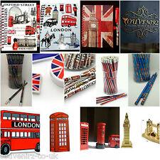 SET of BRITISH GIFT LONDON SOUVENIRS UK - SHARPENER PENCILS ERASER NOTEPAD & PEN