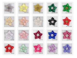 Satin Ribbon Poinsettia Flowers Bows with Beads Choose from 20 Lovely Colours