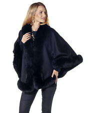 Black Plus Size Cashmere Fur Cape Short - Real Fox Trim