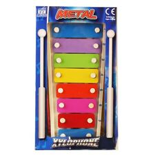 Kids Childrens Colourful Metal 8 Note Xylophone With 2 Beaters Padg S Toy Ne