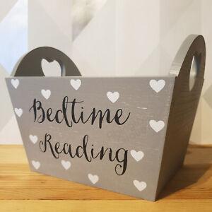 Grey Wooden Bedtime Reading Book Storage Bedroom Shabby Chic Box Hearts Decor