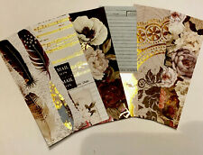 6 Poppies Feathers Old School Copper Foil Bookmarks Heavy Cardstock HC SC Books