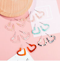 Fashion Women Acrylic Heart Geometry Earring Ear Stud Earrings Jewelry Gift